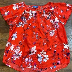 Apt. 9 Red Floral Print Short Sleeve Flowy Top XXL